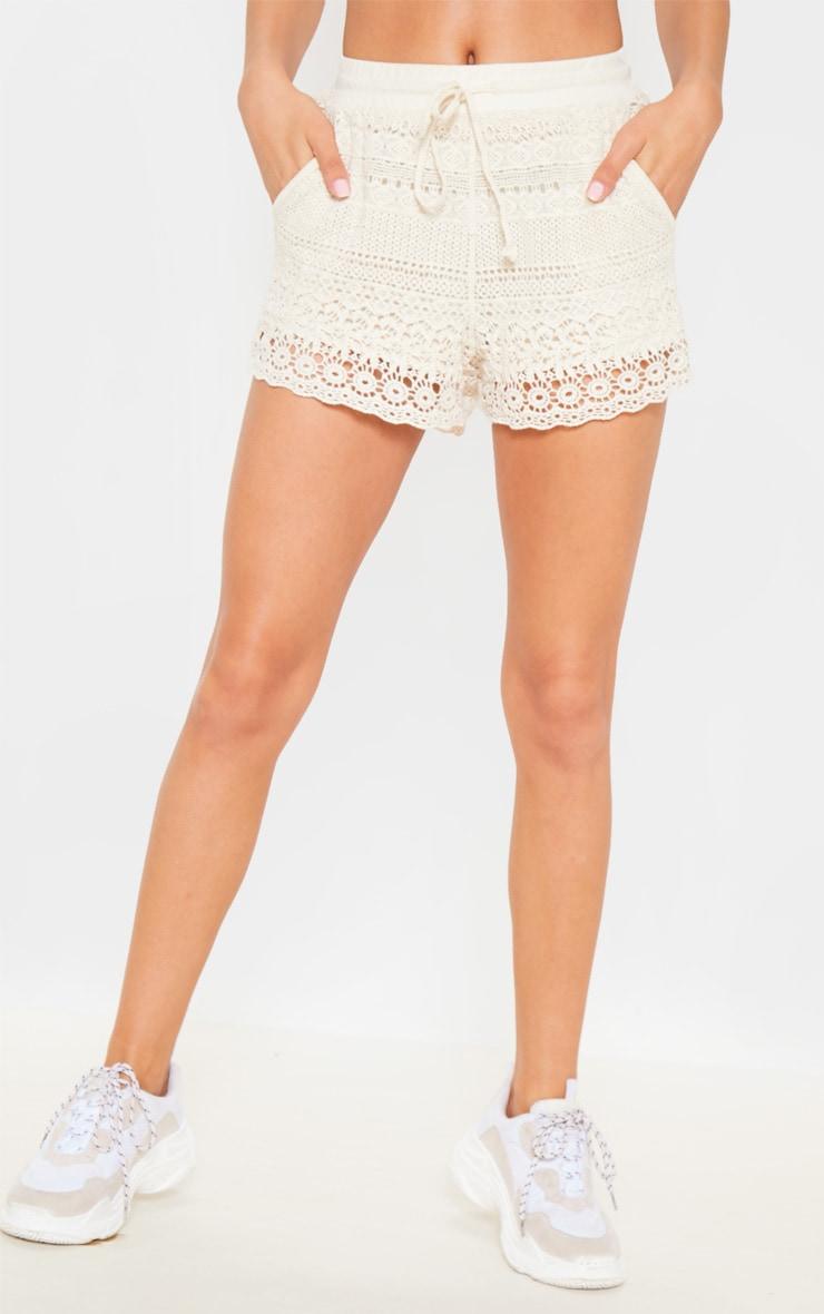 Cream Crochet Drawstring Waist Short  2