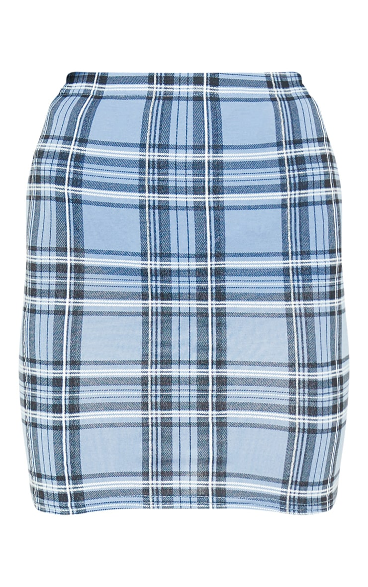 Pastel Blue Check Print Mini Skirt 3