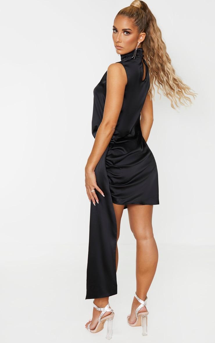 Black Satin High Neck Side Knot Bodycon Dress 3