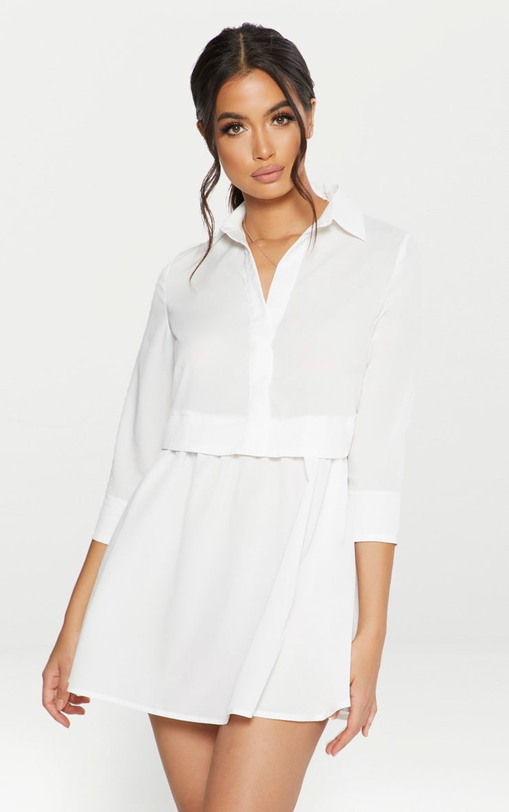 White Layer Shirt Dress 1