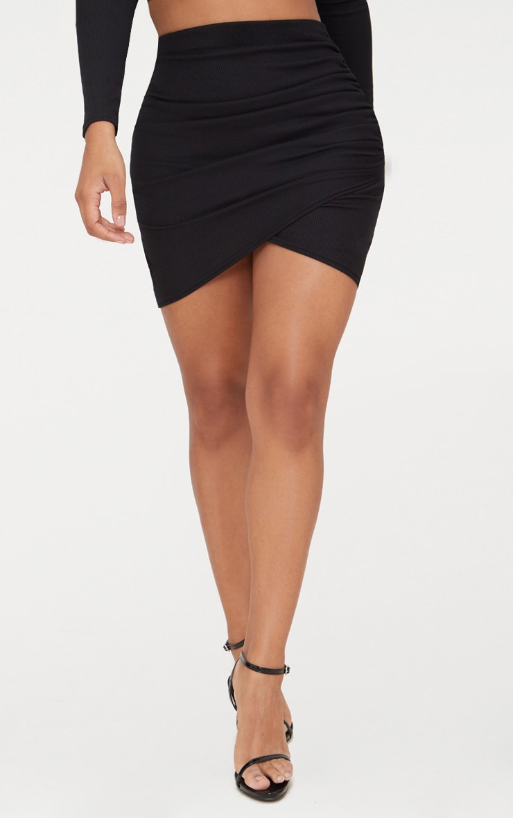 Shape Black Ribbed Bodycon Skirt 2