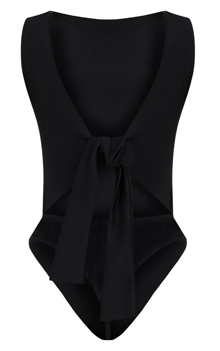Black Bow Open Back Thong Bodysuit 4