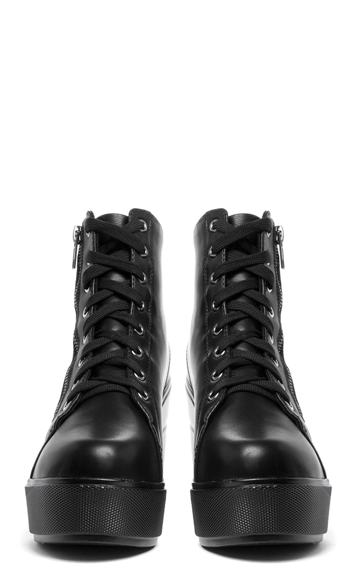Mila Black Lace Up Boot  3