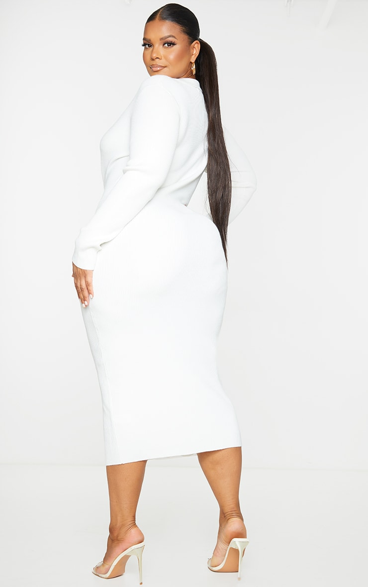 Plus Cream Button Up Collared Knit Dress 2
