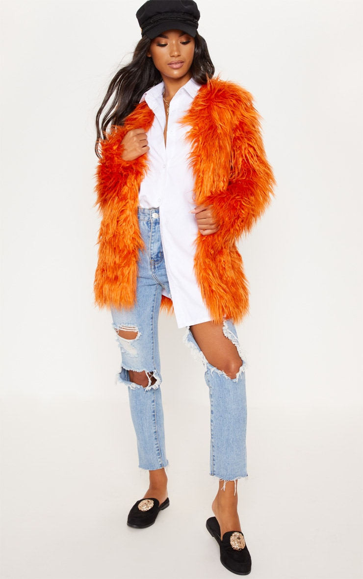 Rust Midi Shaggy Faux Fur