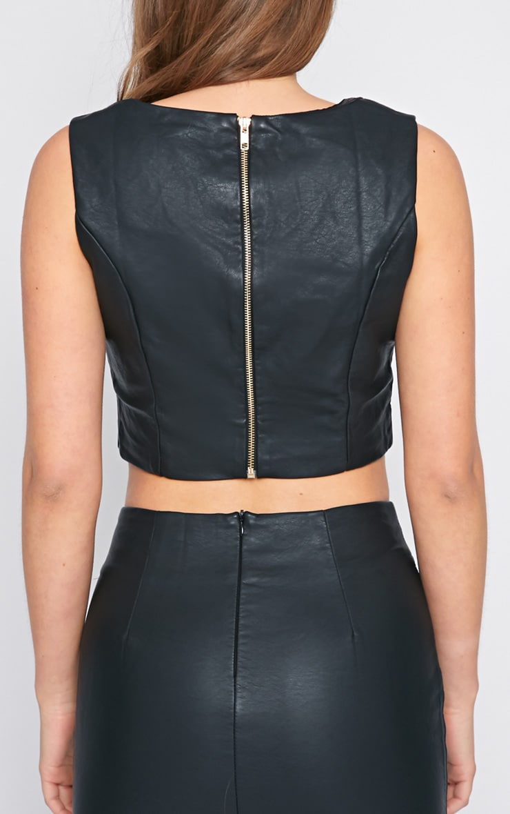 Shary Black Leather Crop  2