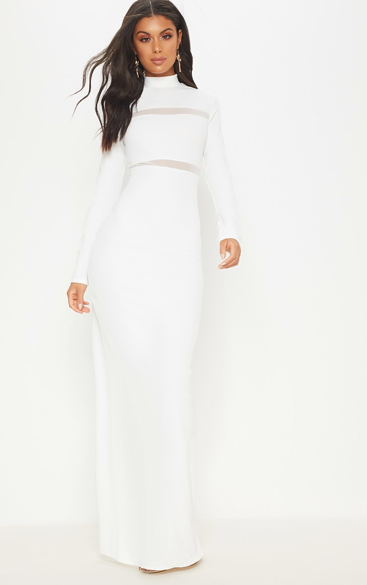 White Mesh Panel Detail High Neck Maxi Dress 1