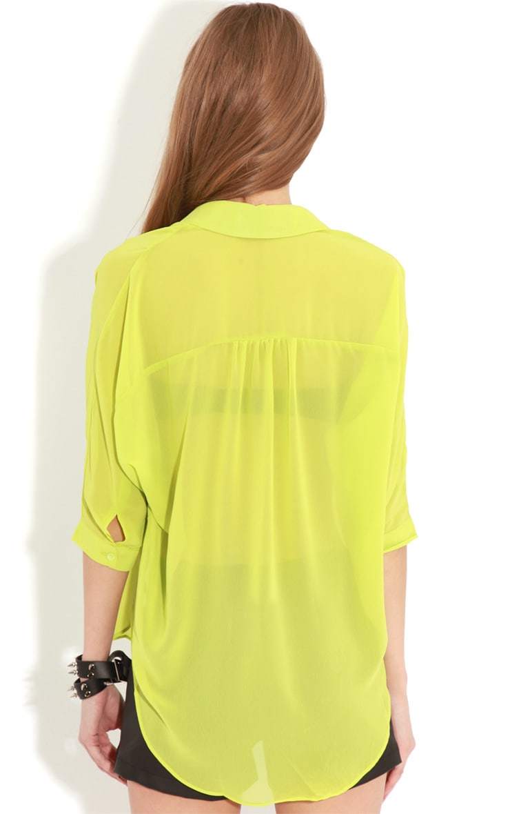 Cate Lime Sheer Wrap Front Blouse 2