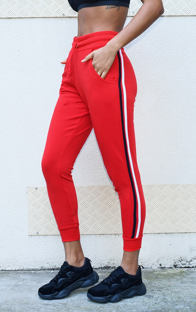 Red Side Stripe Detail Joggers 2