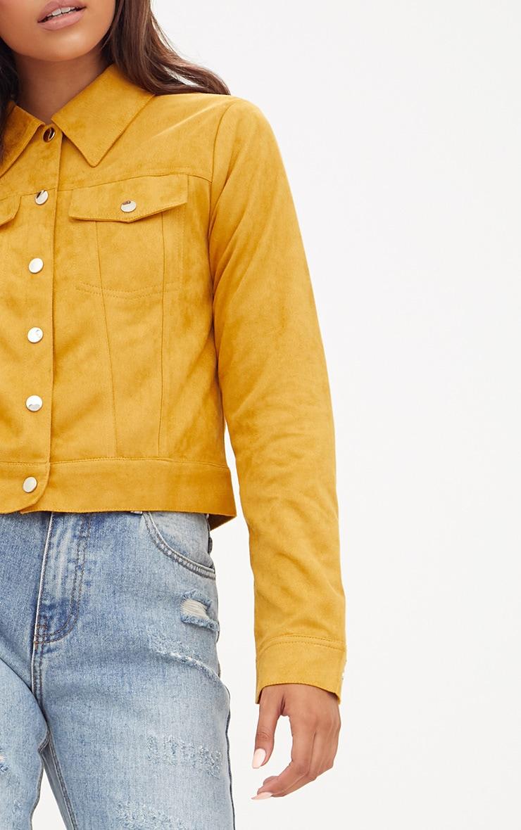 Mustard Faux Suede Trucker Jacket 5