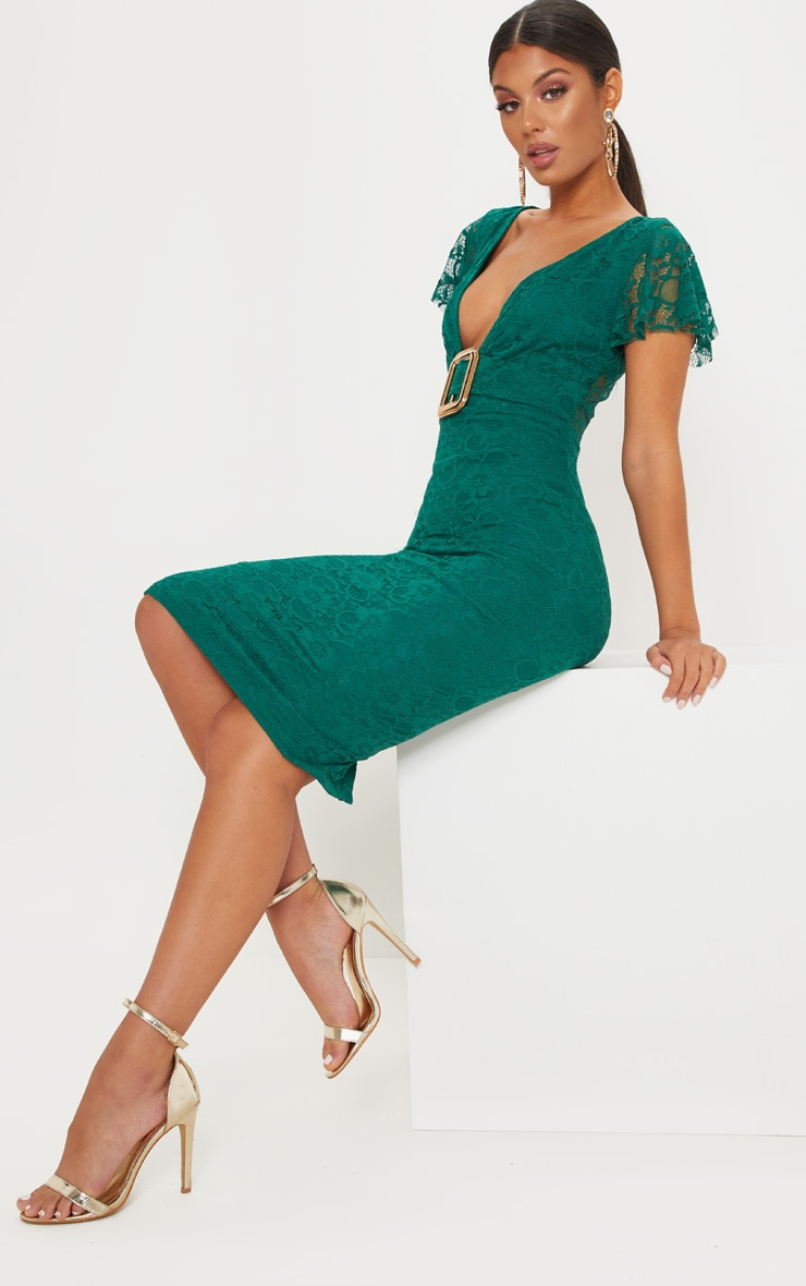Emerald Green Gold Buckle Detail Midi Dress