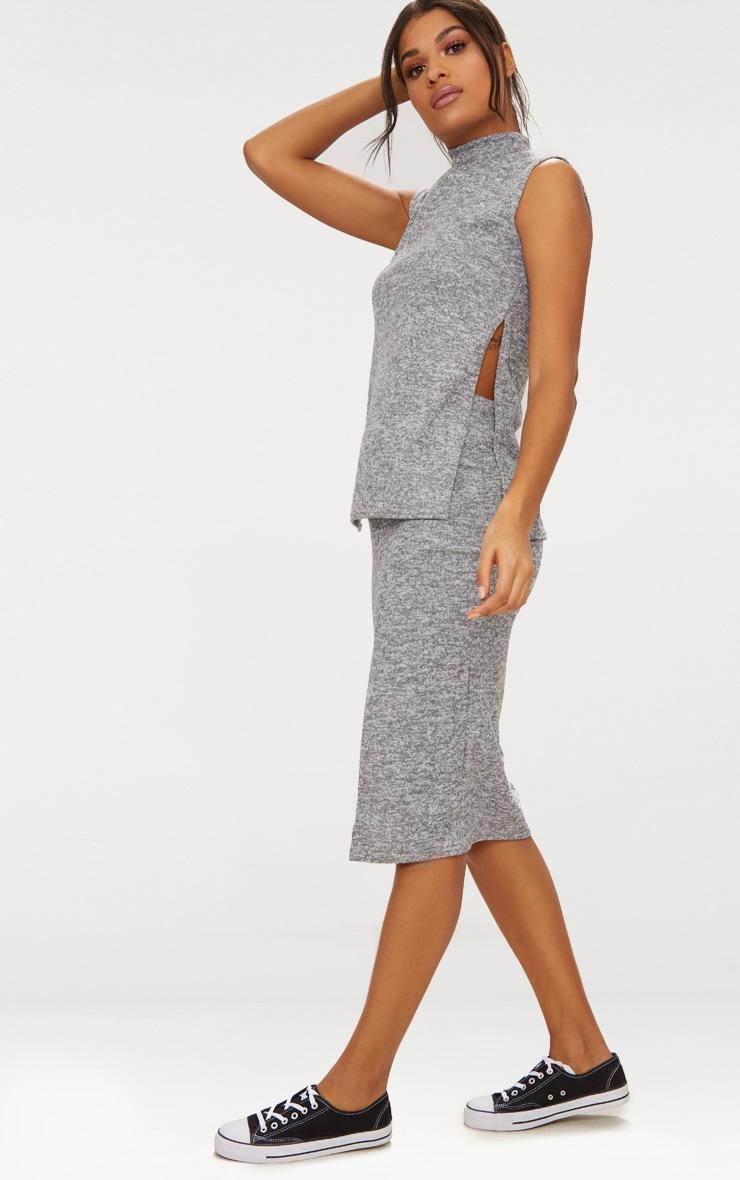 Grey High Neck Co ord Skirt Set 4