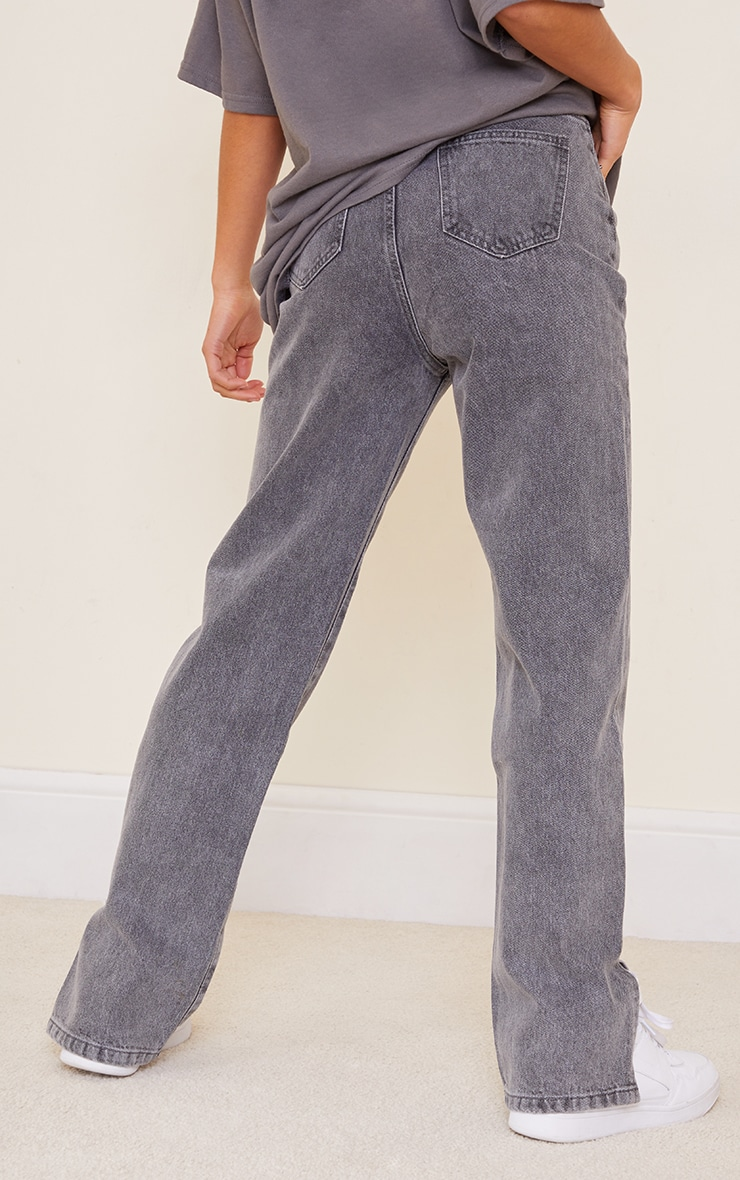 Petite Grey Wash Split Hem Jeans 3