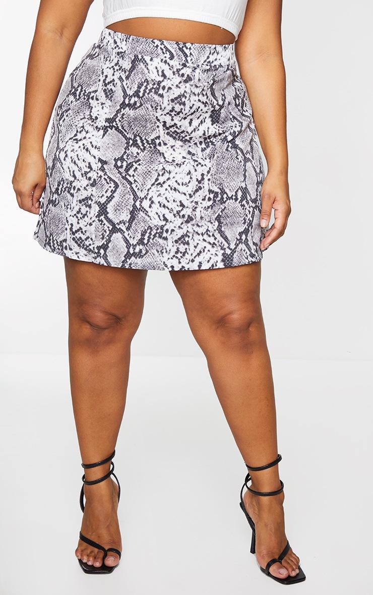 Plus Grey Snake Print Satin Bodycon Skirt 2
