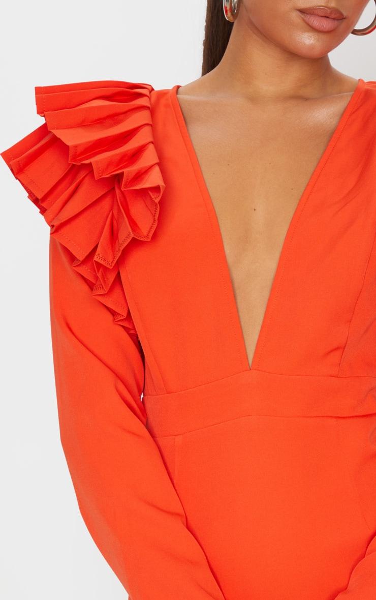 Bright Orange Pleated Shoulder Long Sleeve Plunge Bodycon Dress 5