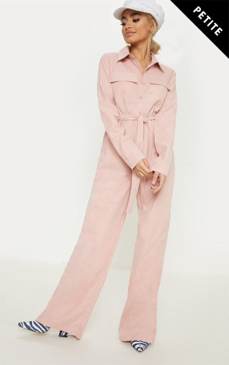 PINK FAUX SUEDE BUTTON UP JUMPSUIT