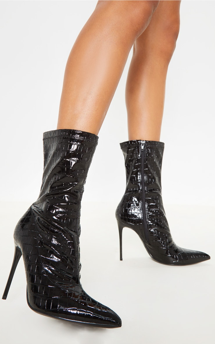 Black Croc Point Toe Sock Boot 2