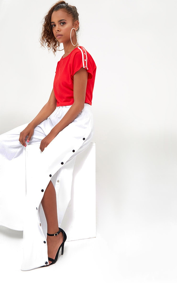Petite Red/White Popper Shoulder Stripe Crop Top 4