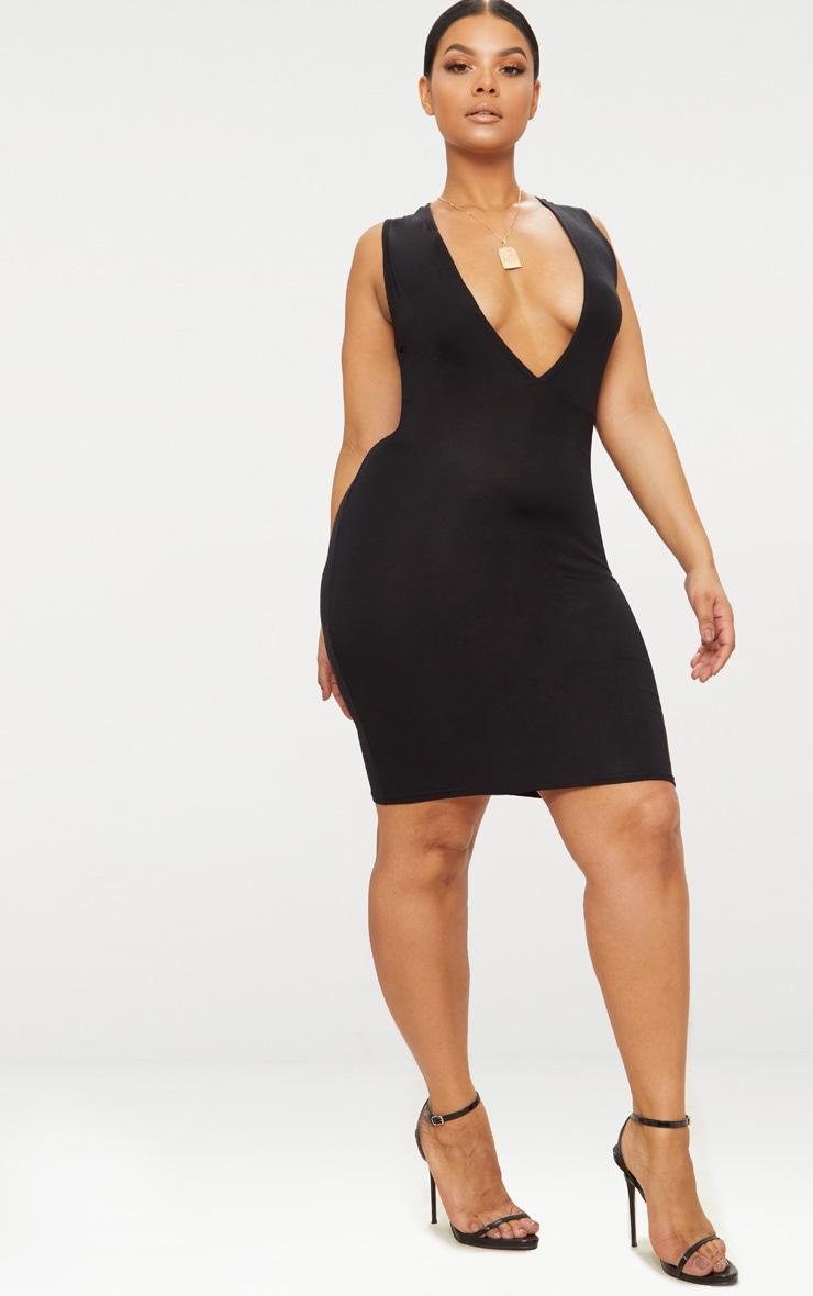 Plus Black Jersey Plunge Bodycon Dress 4