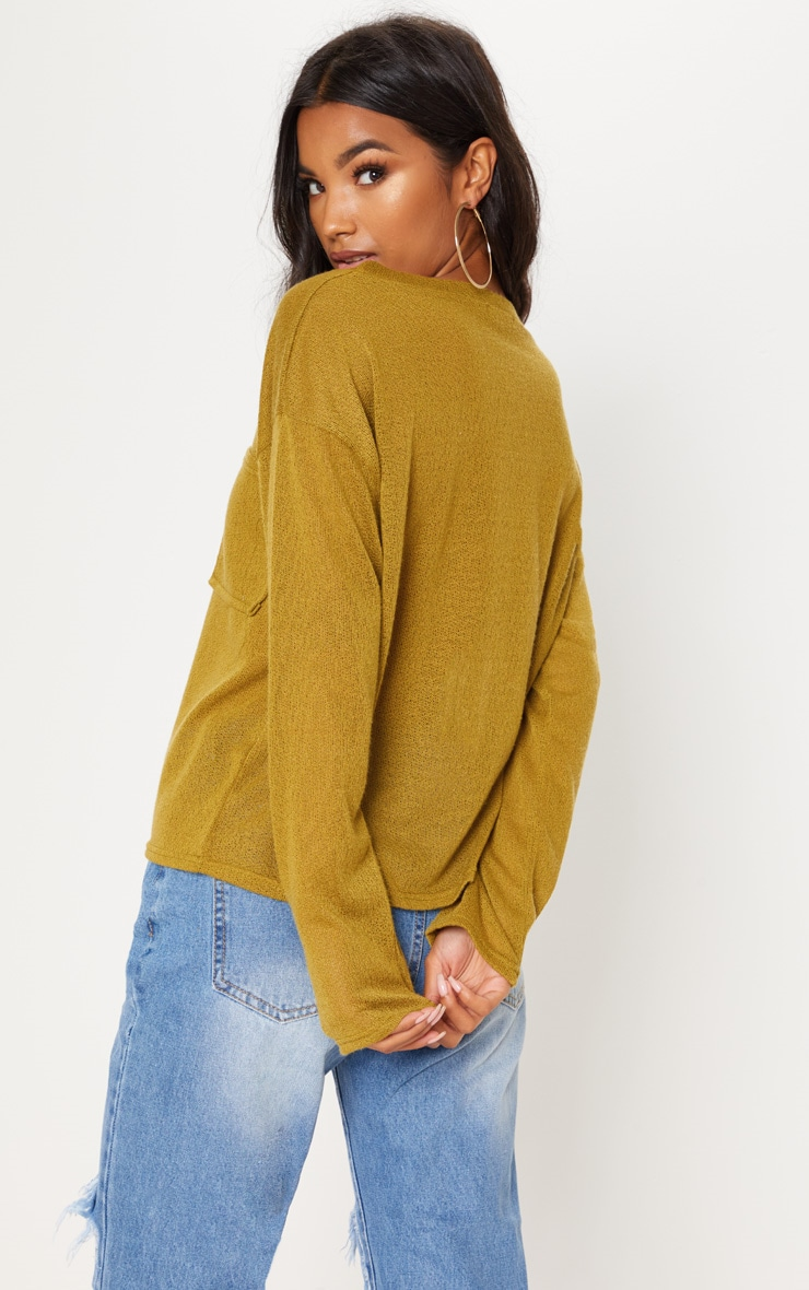 Olive Green Lightweight Knit Long Sleeve Top 2