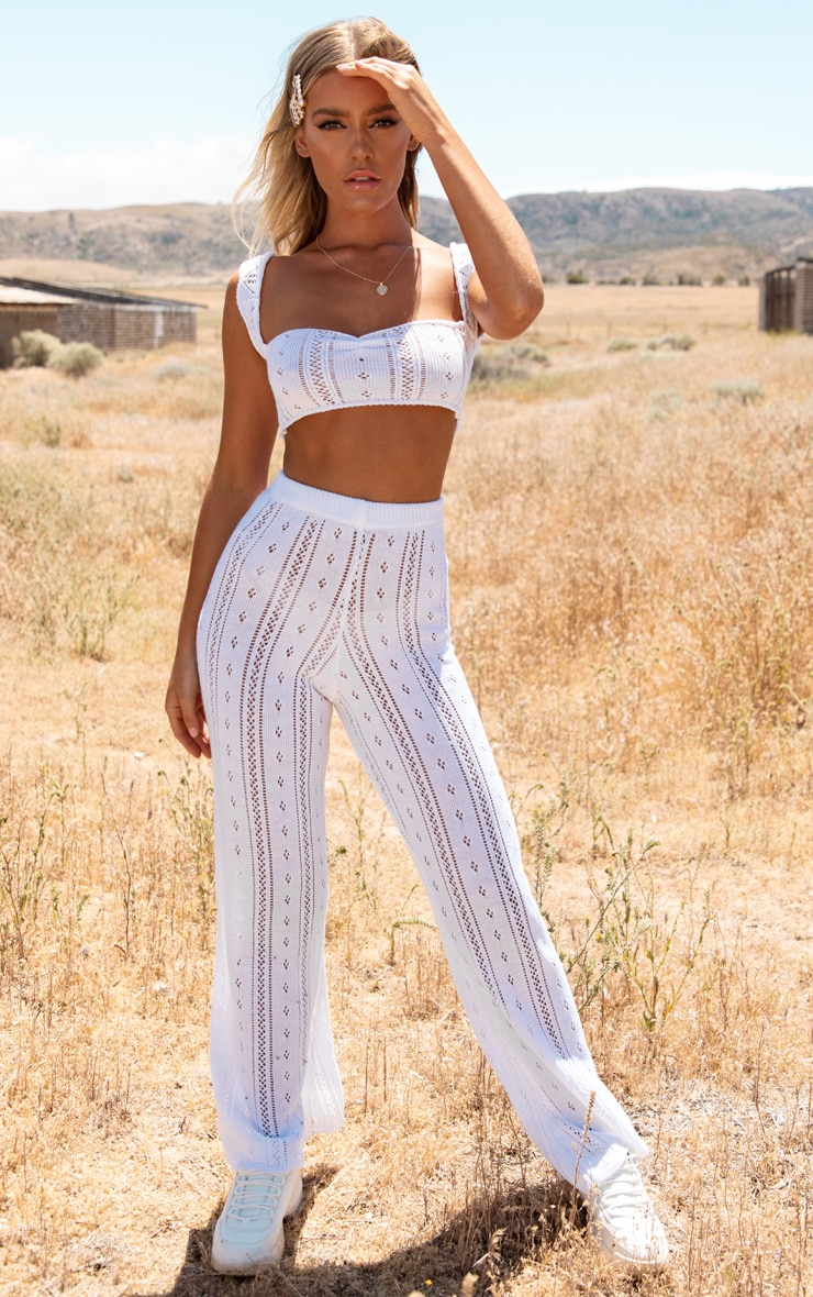 Cream Open Knitted Flares 2