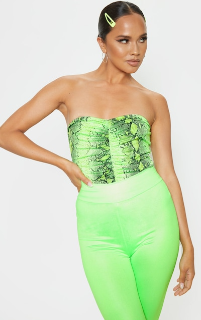 644dfd12872 Neon Lime Snake Slinky Ruched Front Strapless Bodysuit