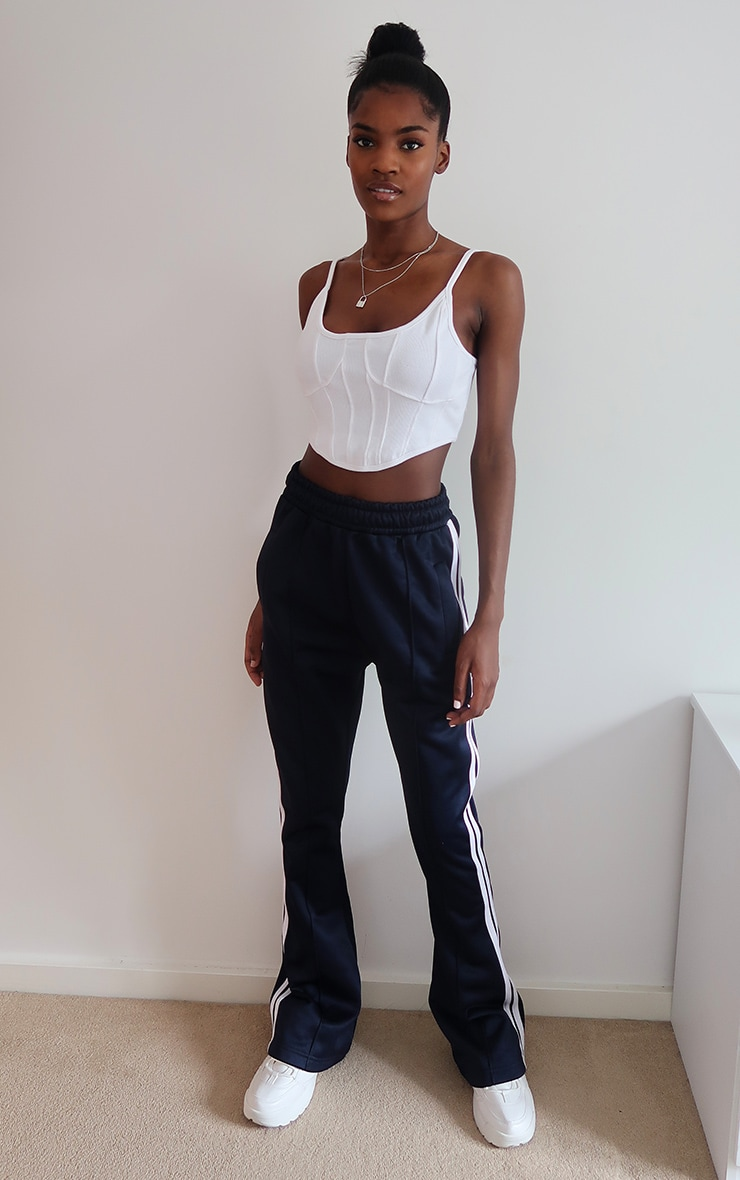 White Rib Curve Hem Strappy Crop Top 3