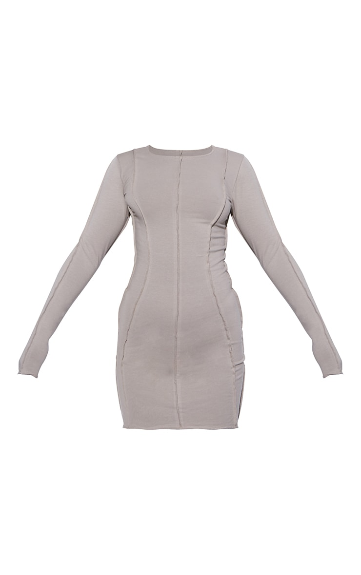 RENEW Washed Stone Loopback Exposed Seam Long Sleeve Bodycon Dress 5