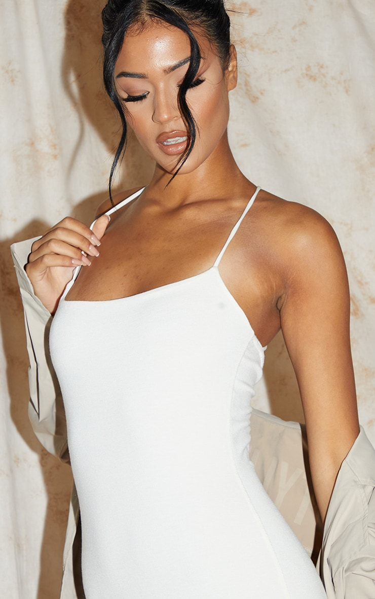 Recycled Tall Cream Contour Jersey Strappy Ruched Midi Dress 4