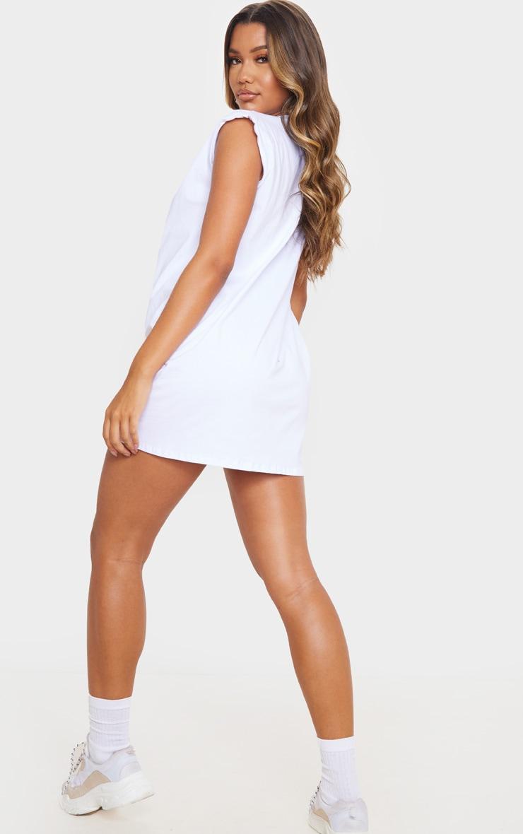 White Oversized Gathered Sleeve T Shirt Dress 2