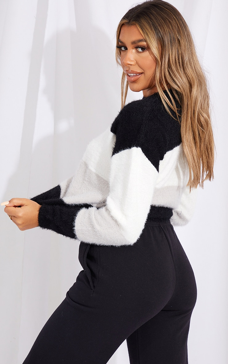 Black Colour Block Eyelash Knit Jumper 2