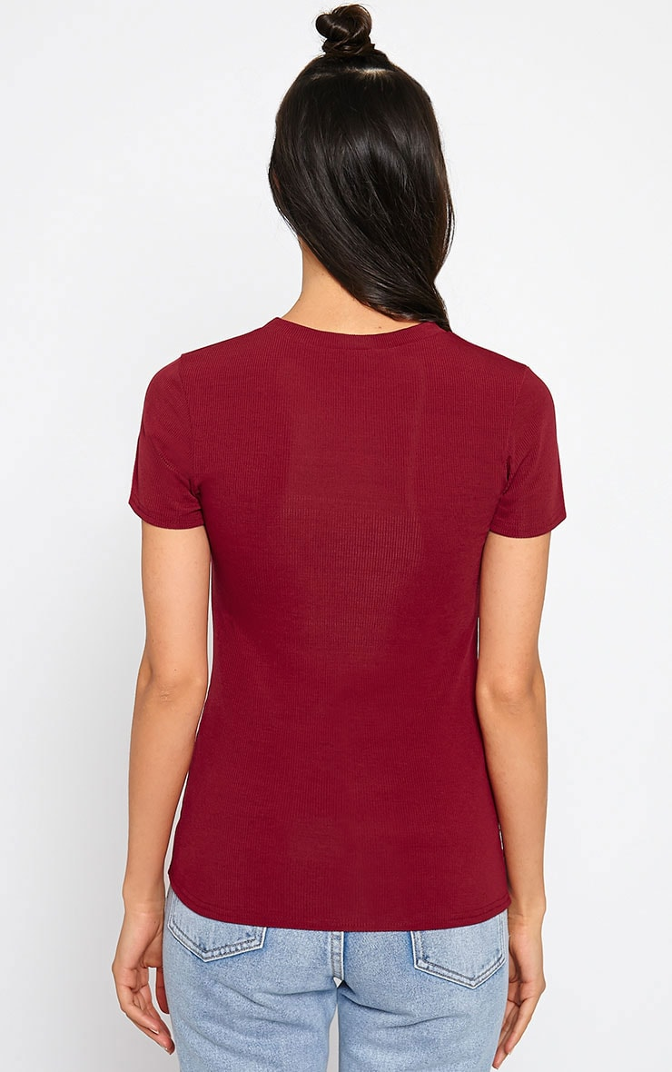 Basic Burgundy Premium Ribbed Tee 2