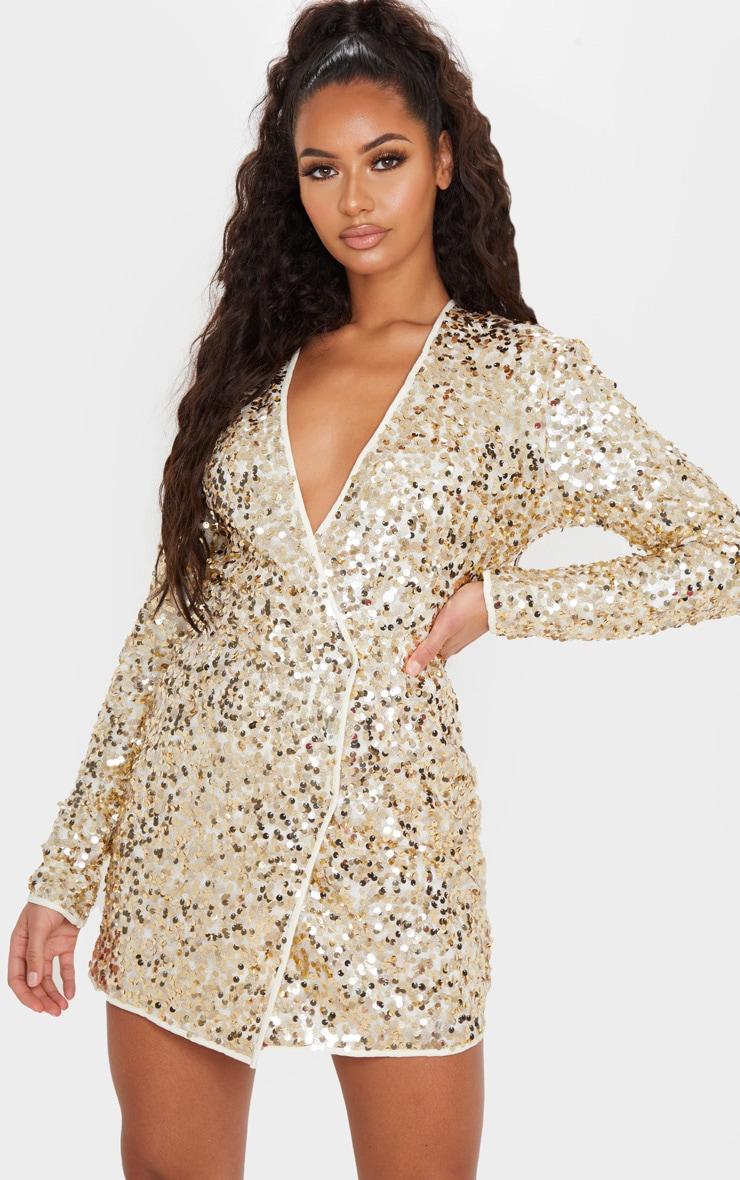 Gold Sequin Long Sleeve Blazer Dress 1