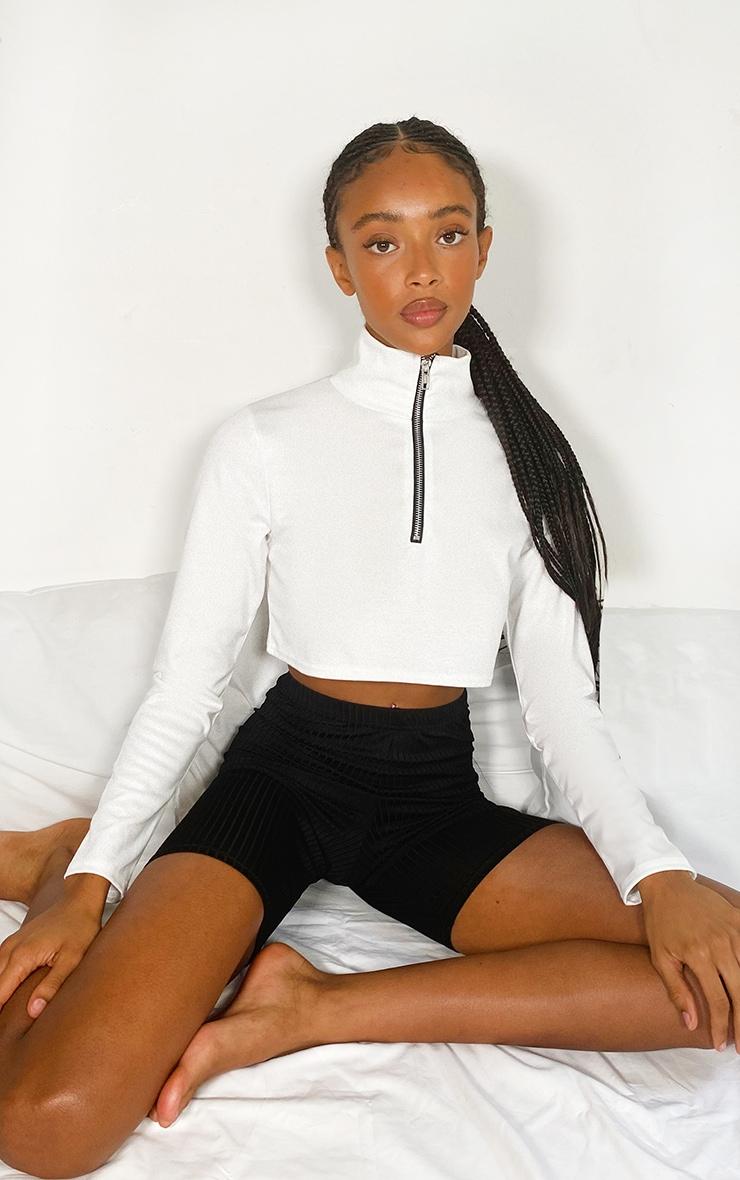 White Zip Front Crop Sweater 3
