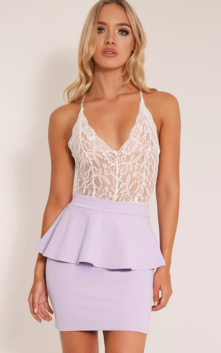 Mariela Lilac Peplum Scuba Mini Skirt 1