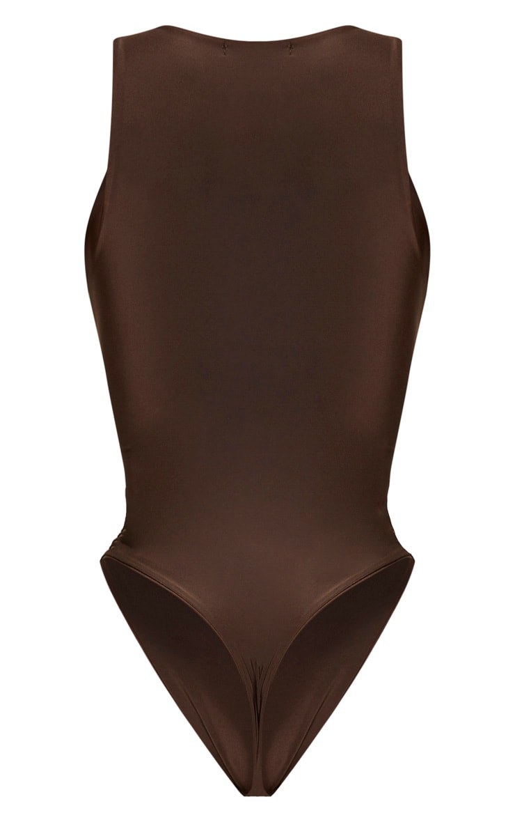 Shape Chocolate Brown Sleeveless Slinky Bodysuit 6