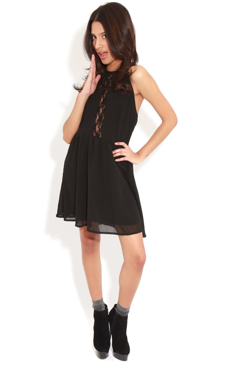 Lisa-Ann Black Lace Panel Halterneck Dress 3
