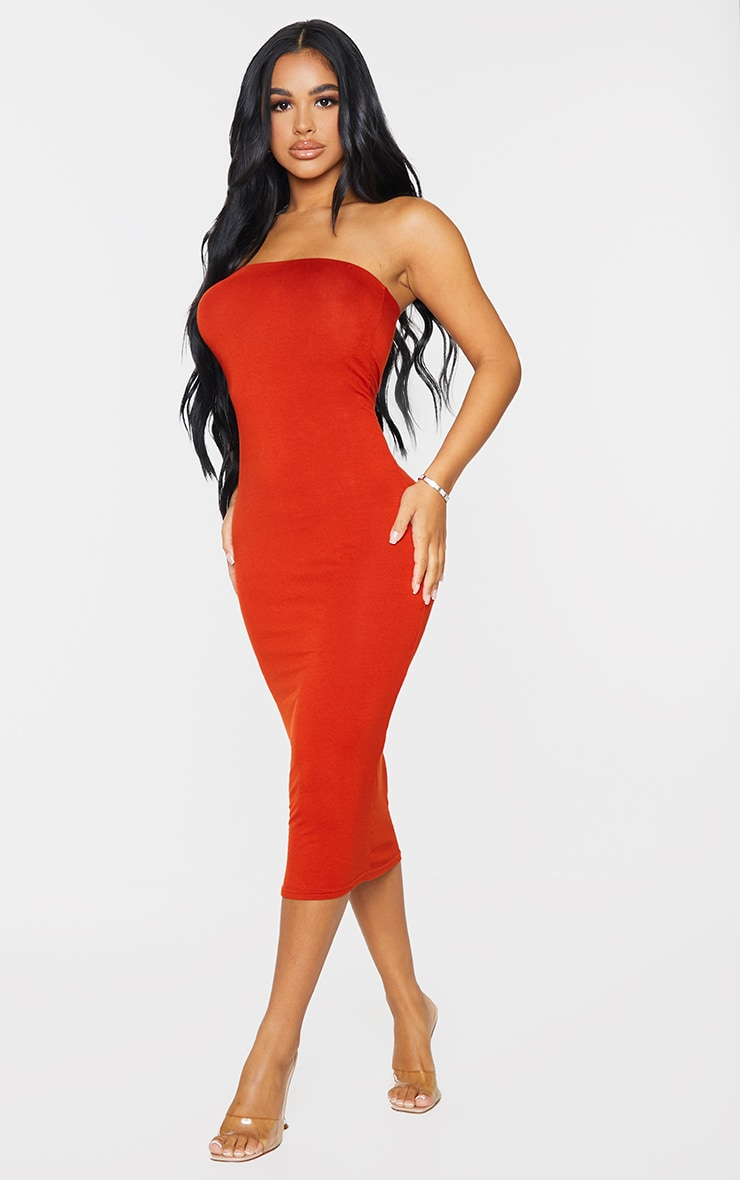 Petite Red Petite Bandeau Jersey Midi Dress 3
