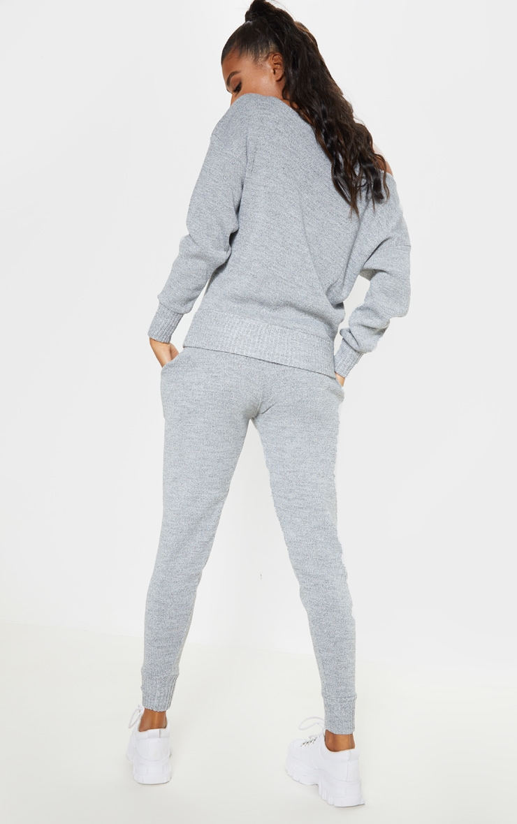 Auriel Grey Jogger Jumper Knitted Lounge Set 2
