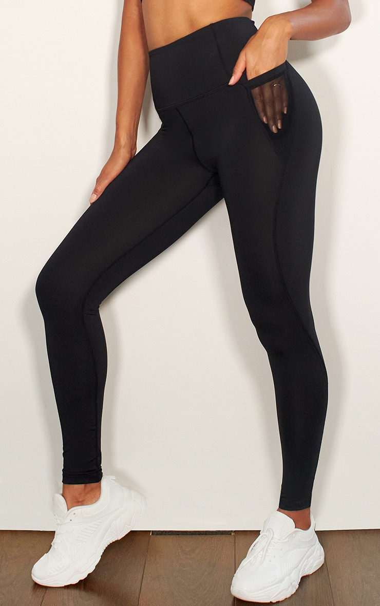 Black Mesh Pocket Detail Luxe Gym Legging 2