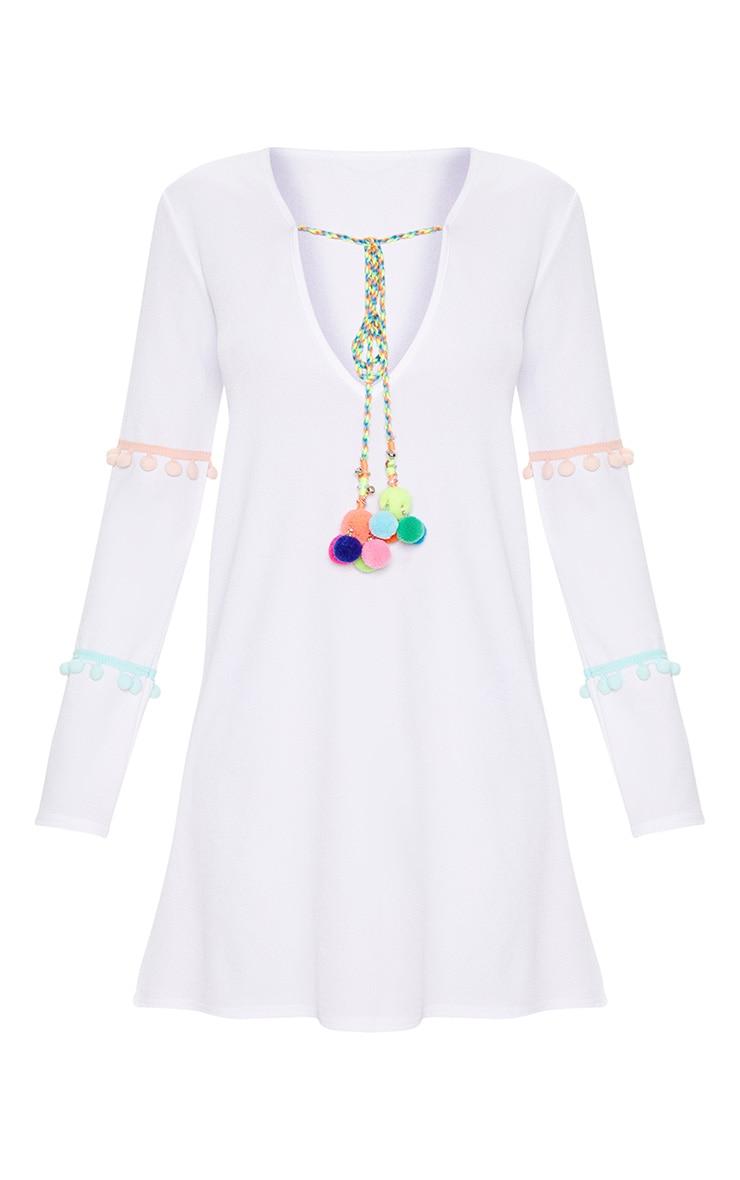 White Pom Pom Bell Trim Shift Dress 3