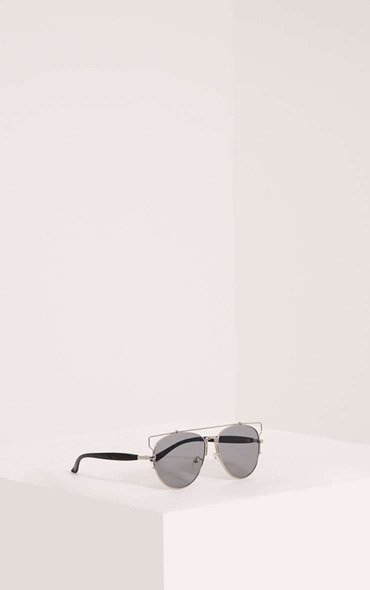 Jay Silver Mirrored Cut Out Frame Aviator Sunglasses 4