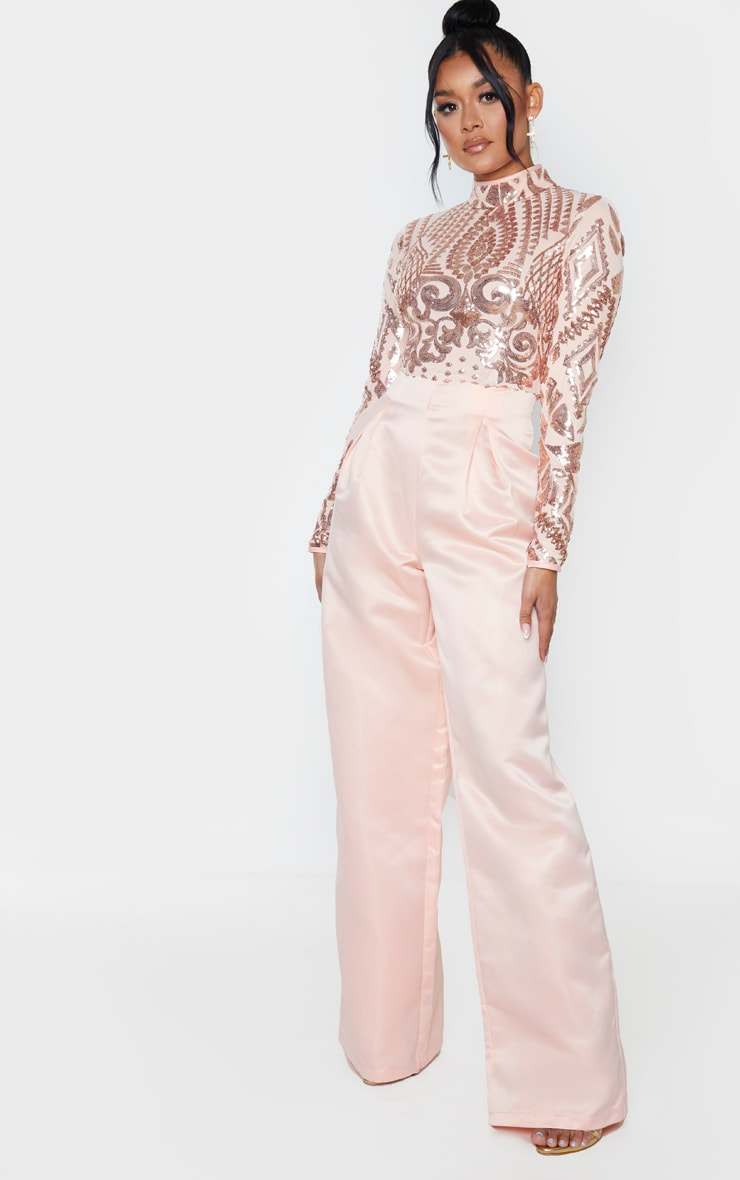 Rose Gold Sequin Bodice Long Sleeve Satin Jumpsuit 3