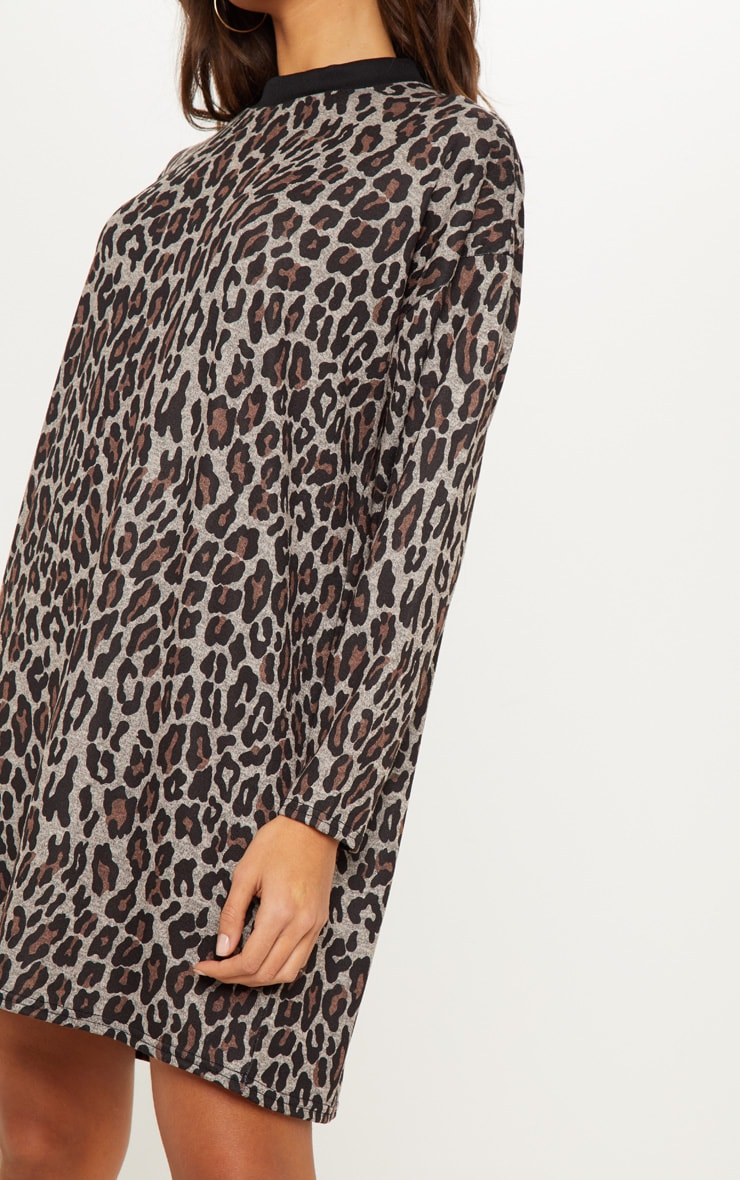 Brown Leopard Print Oversized Jumper Dress 5