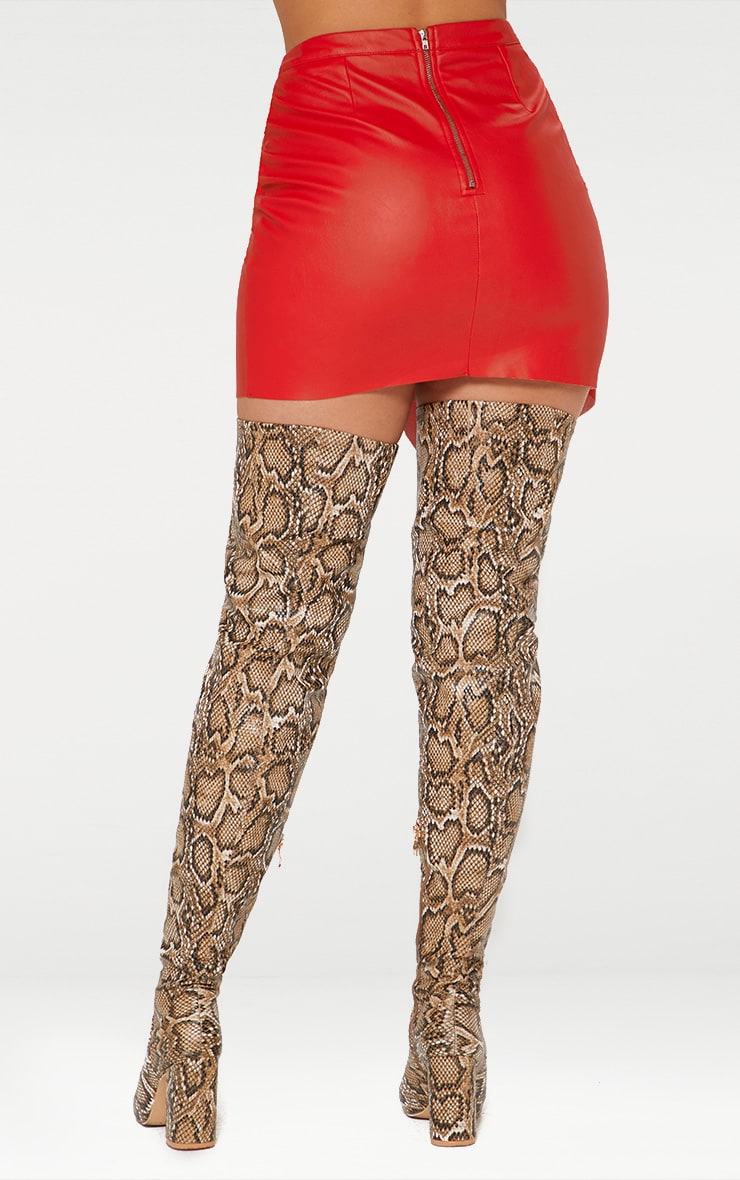 Red Faux Leather Wrap Mini Skirt 4