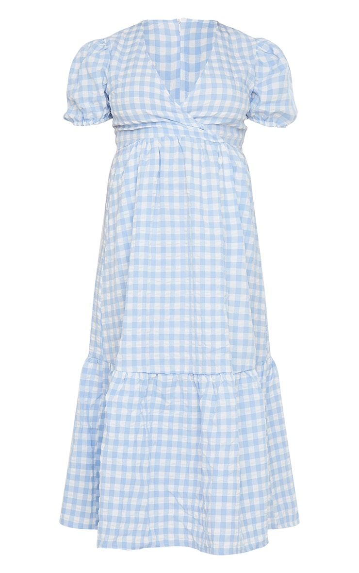 Maternity Blue Gingham Woven Tiered Smock Midaxi Dress 5
