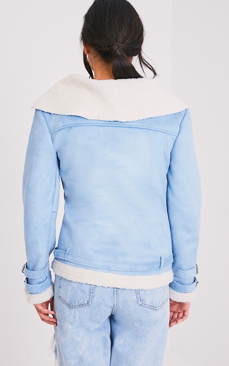 Emilia Blue Faux Suede Aviator Jacket 2