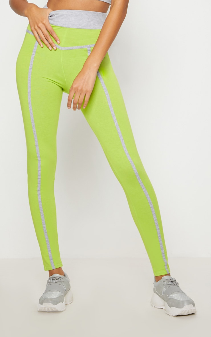 Lime Contrast Binding Sport Leggings 2