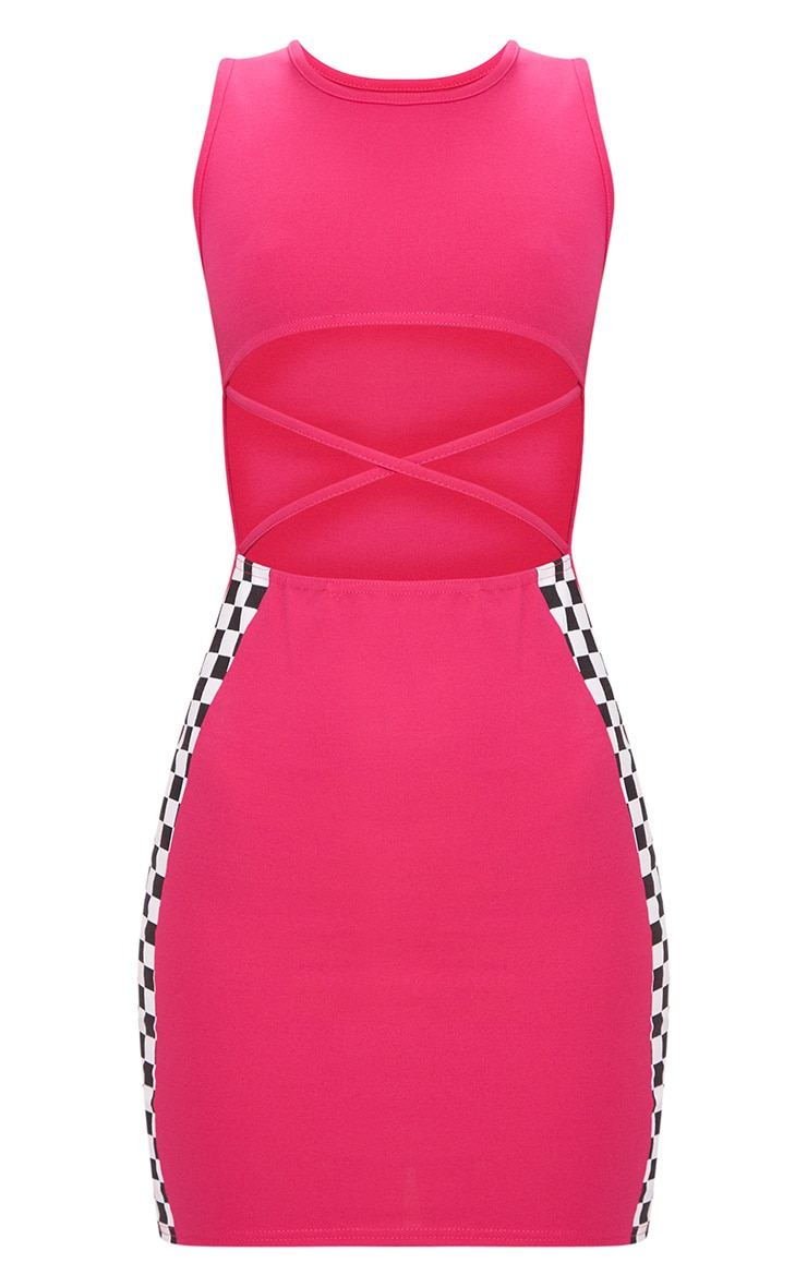 Hot Pink Motocross Under Boob Strap Detail Bodycon Dress 3