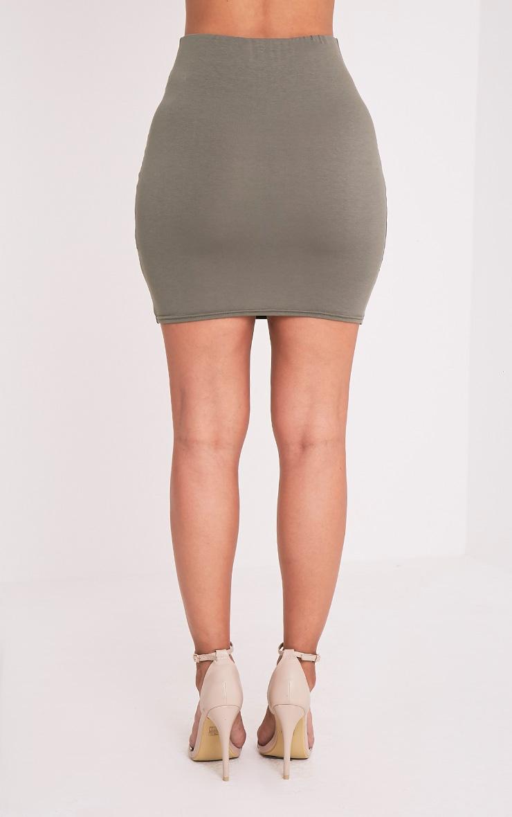 Alayna Khaki Knotted Jersey Mini Skirt 5